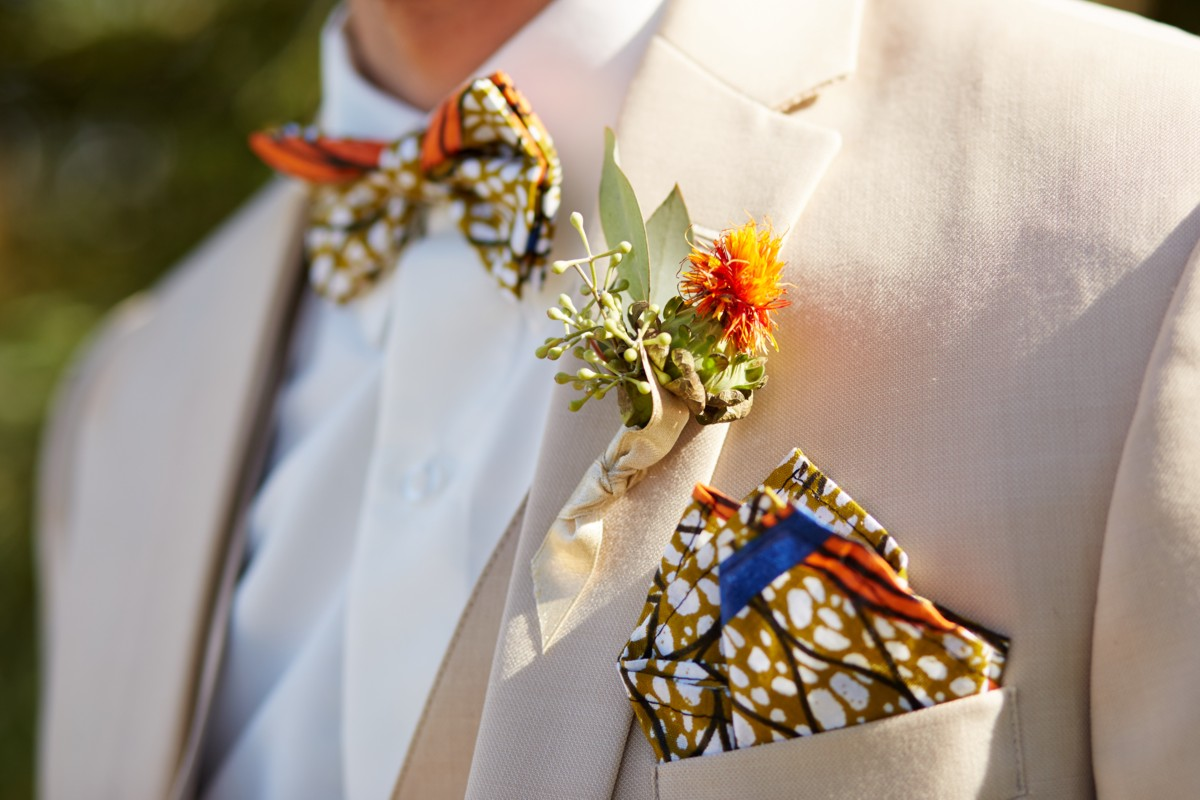 Inspirations by Gina - Lake Tahoe wedding florist - groom with boutonniere and bow tie