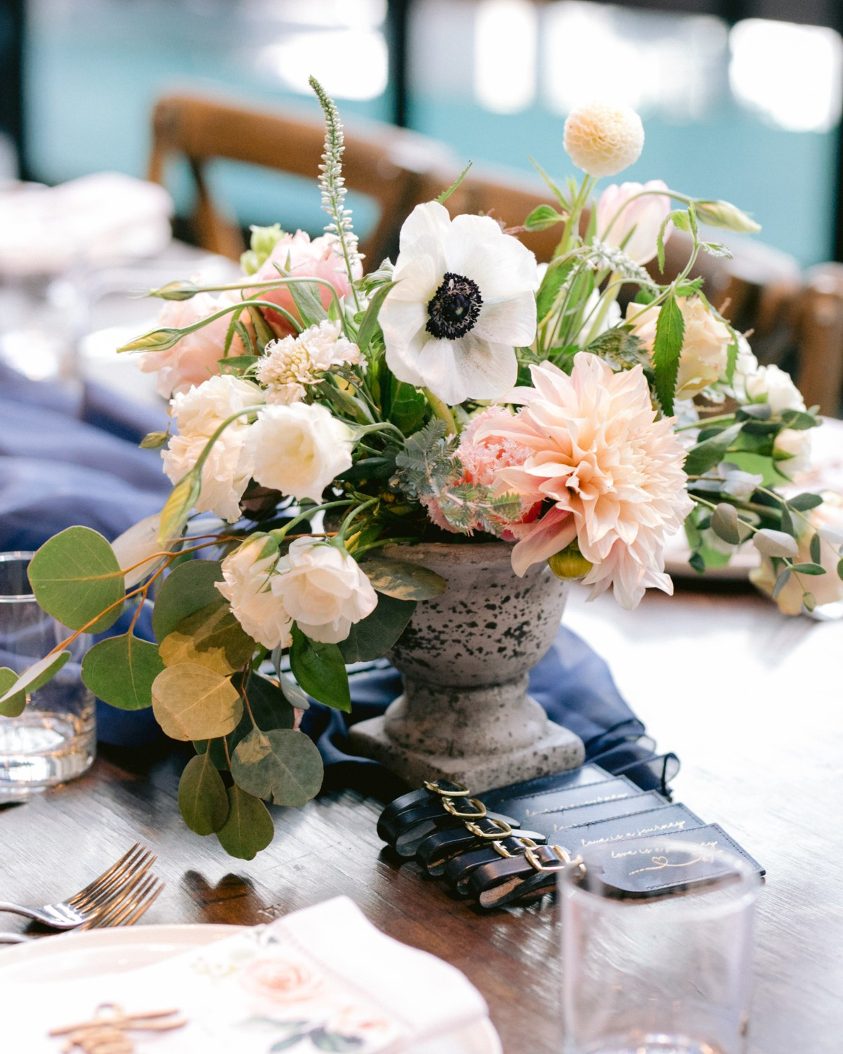 Inspirations by Gina - Lake Tahoe wedding florist - centerpiece with antique container