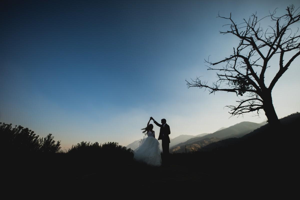 Jeramie Lu Photography - Lake Tahoe wedding couple dancing by tree