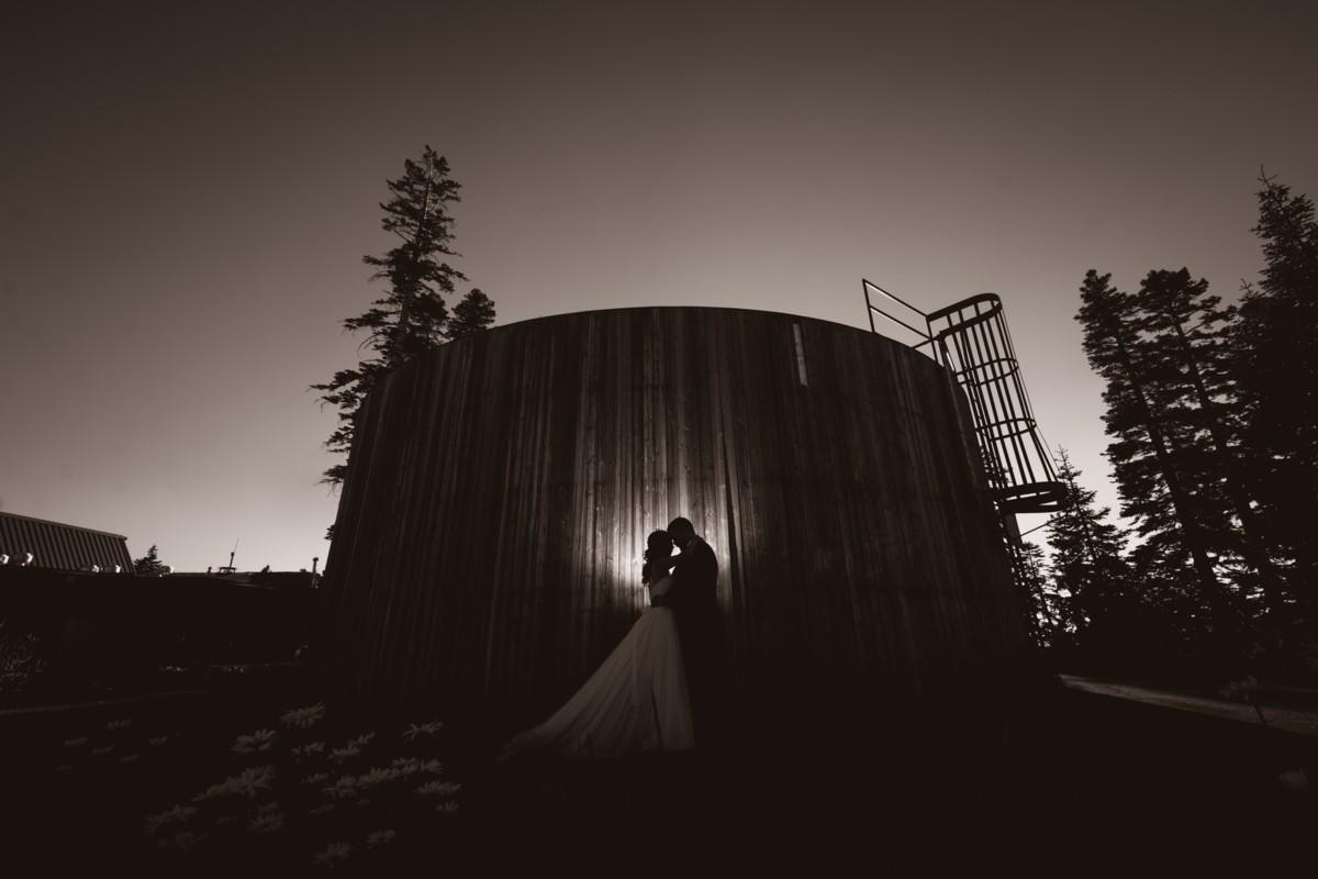 Jeramie Lu Photography - Lake Tahoe wedding couple by water tower