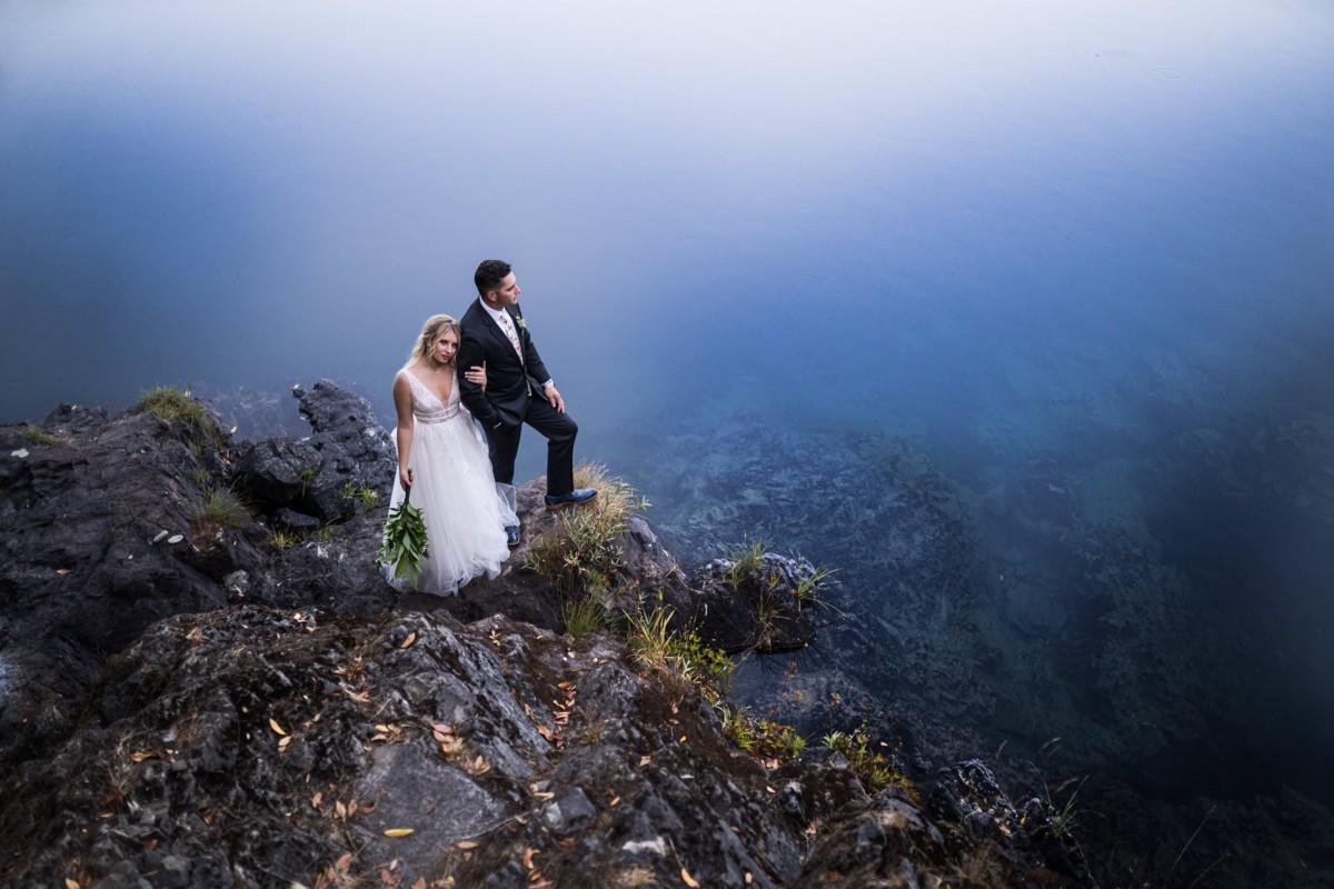Jeramie Lu Photography - Lake Tahoe wedding couple on rock formation