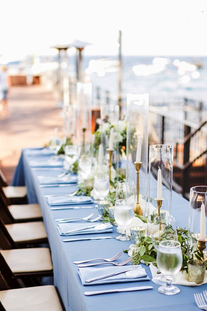 Blue Sky Events Lake Tahoe wedding - long head table with blue linen