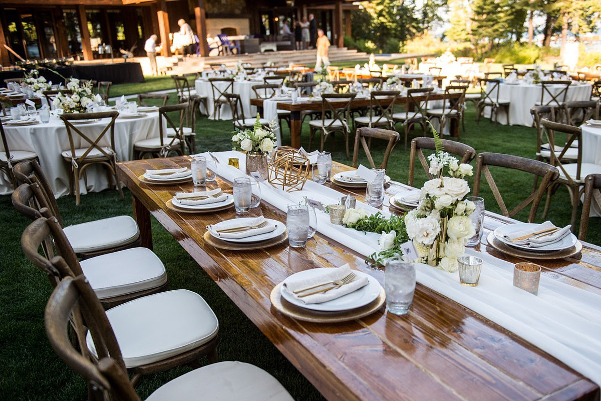 Blue Sky Events Lake Tahoe wedding - reception tables