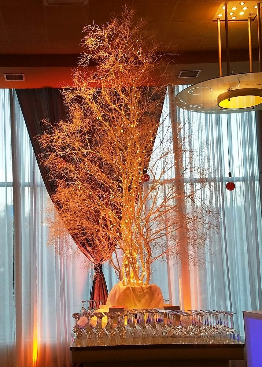 12ft Manzanita Tumbleweed tree Lake Tahoe wedding rentals Manzanita Glow