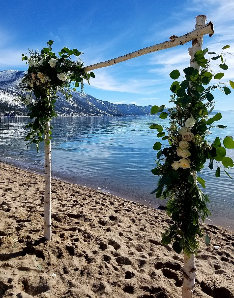 Birch Arch Lake Tahoe wedding rentals Manzanita Glow