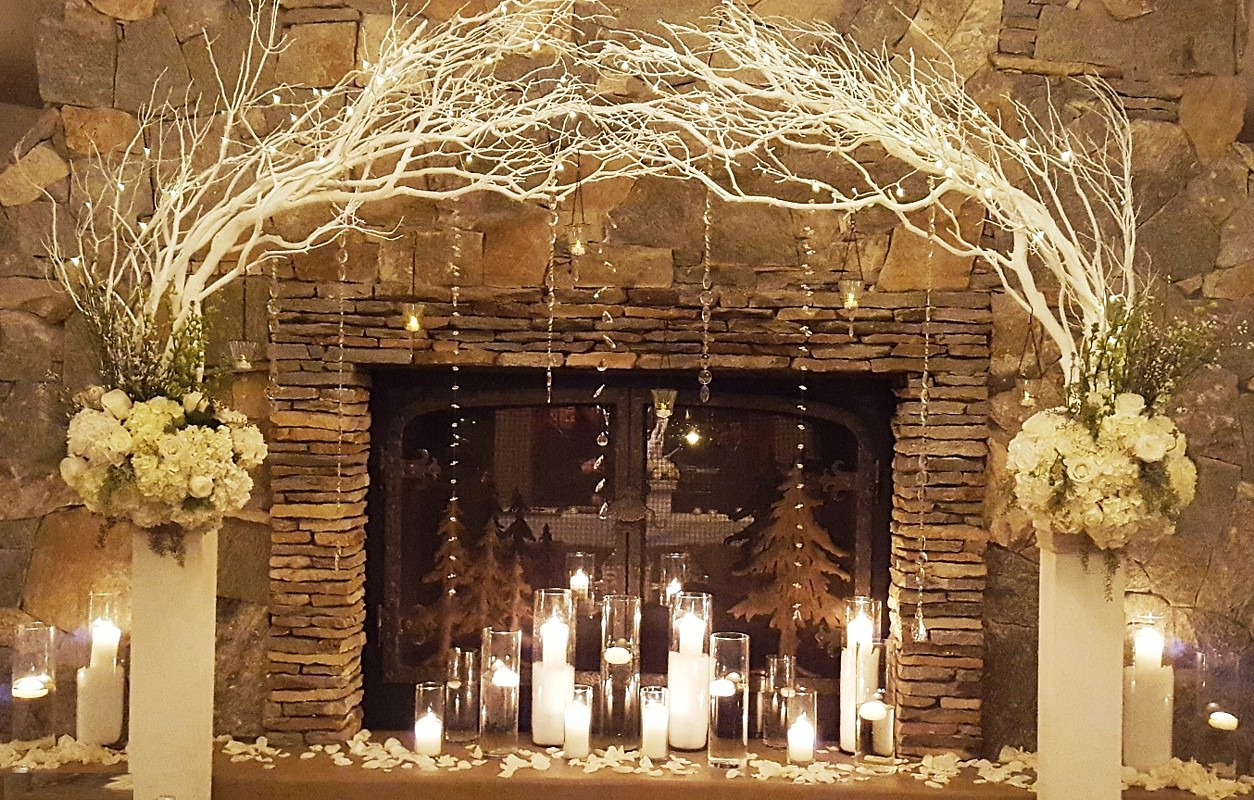 White column Arch by fireplace Lake Tahoe wedding rentals Manzanita Glow