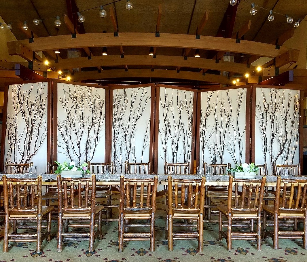 Folding Screens Zephyr Lodge reception Lake Tahoe wedding rentals Manzanita Glow
