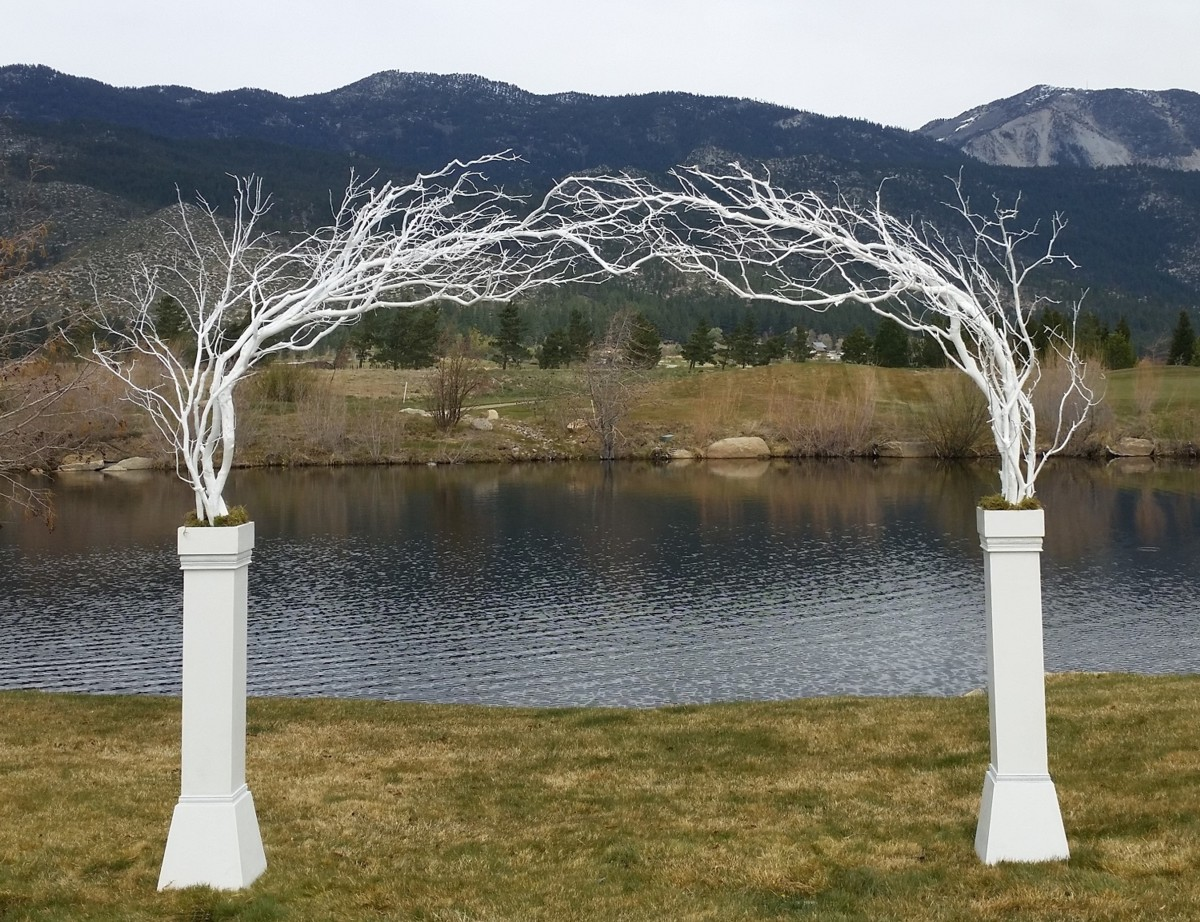 white column arch ceremony Lake Tahoe wedding rentals Manzanita Glow