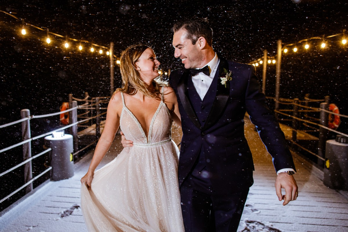 Marcella Camille Events - Lake Tahoe wedding planner - couple on pier at night