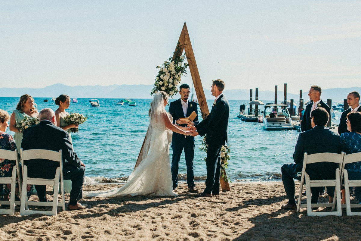 Marcella Camille Events - Lake Tahoe wedding planner - ceremony on beach