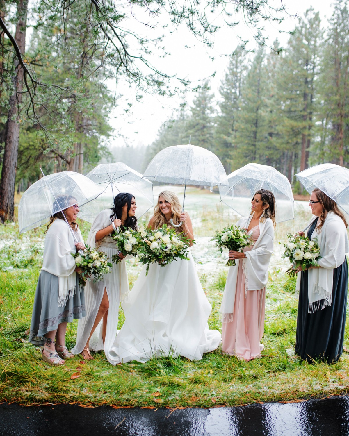 Marcella Camille Events - Lake Tahoe wedding planner - bridal party with umbrellas