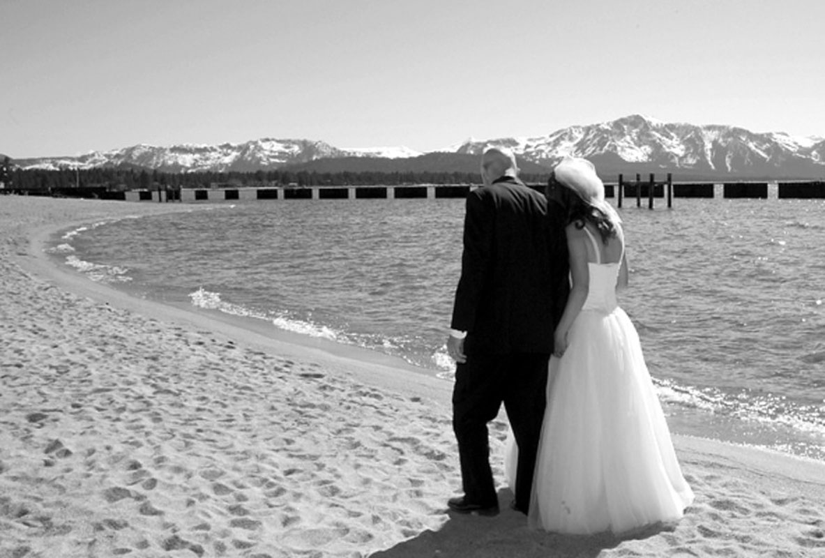Lake Tahoe wedding couple on beach
