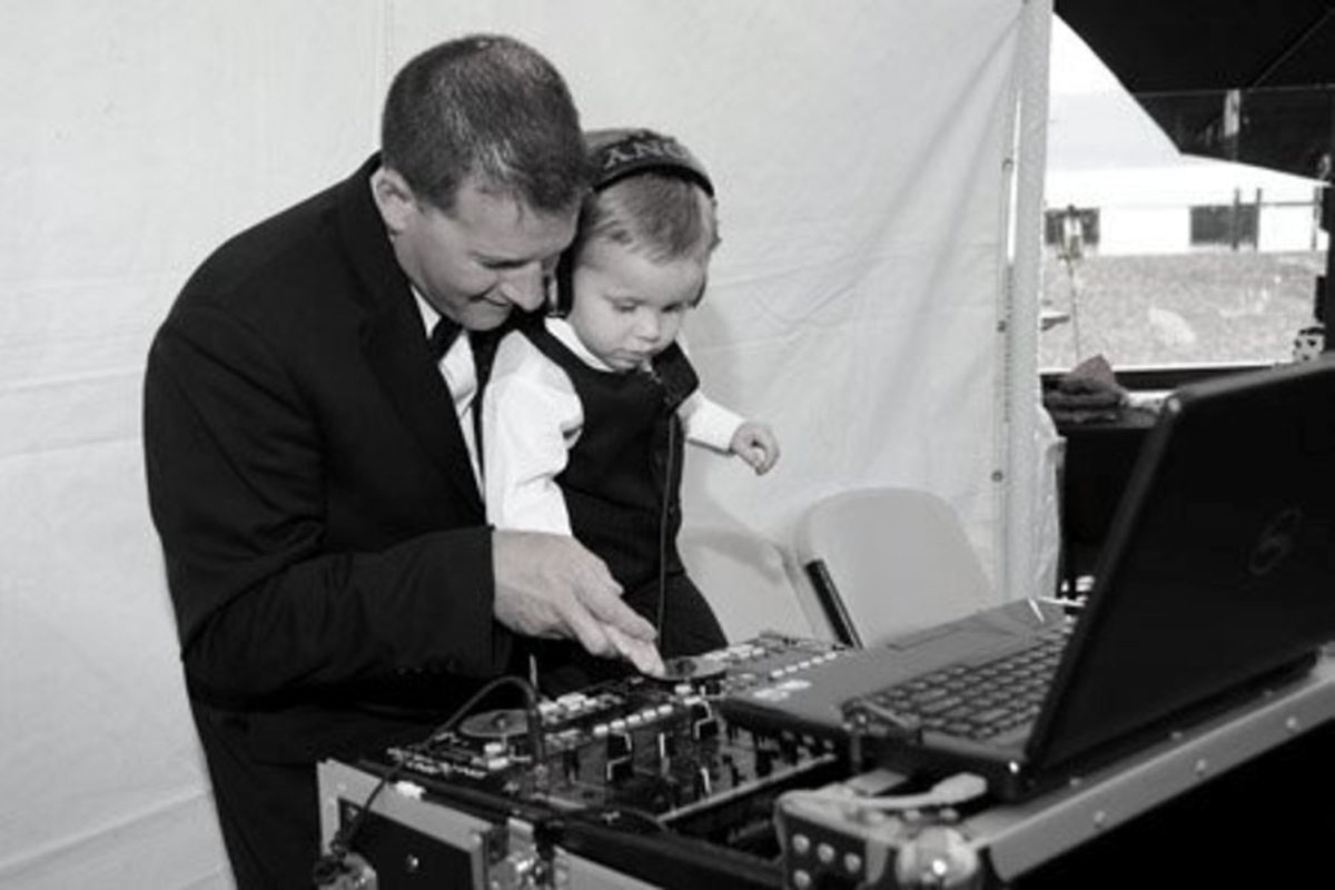 Moonlight Mobile DJ Lake Tahoe wedding playing with equipment