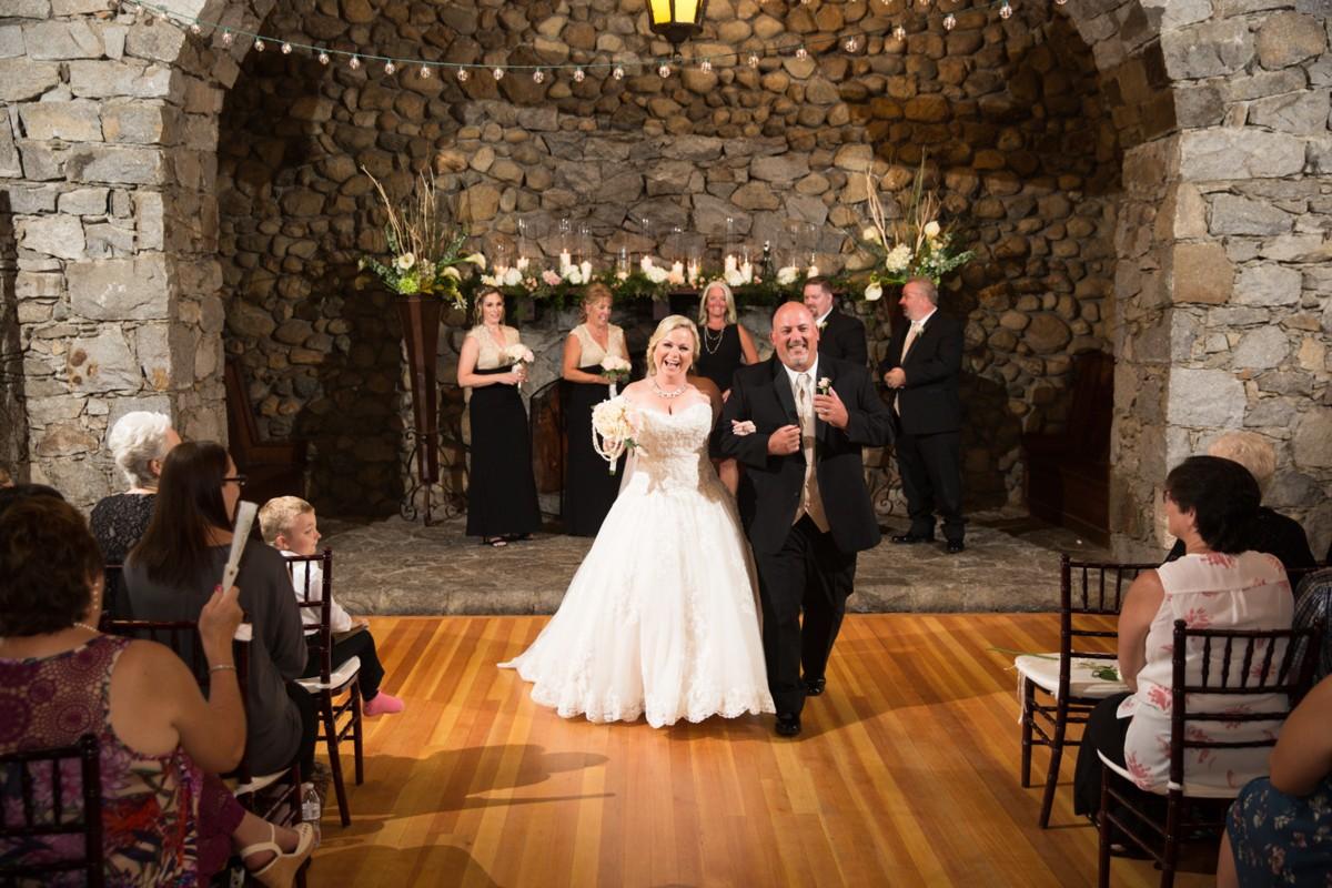 Mountain High Weddings Lake Tahoe couple down aisle