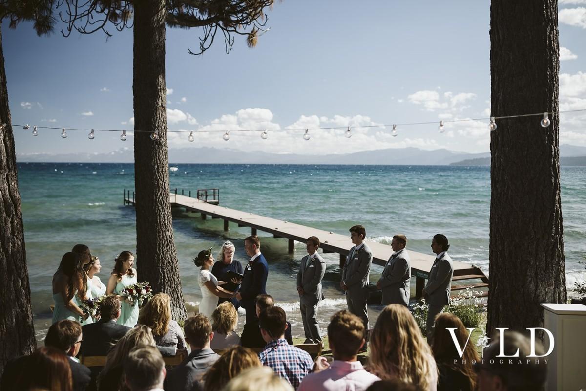 Mountain High Weddings Lake Tahoe waterfront ceremony