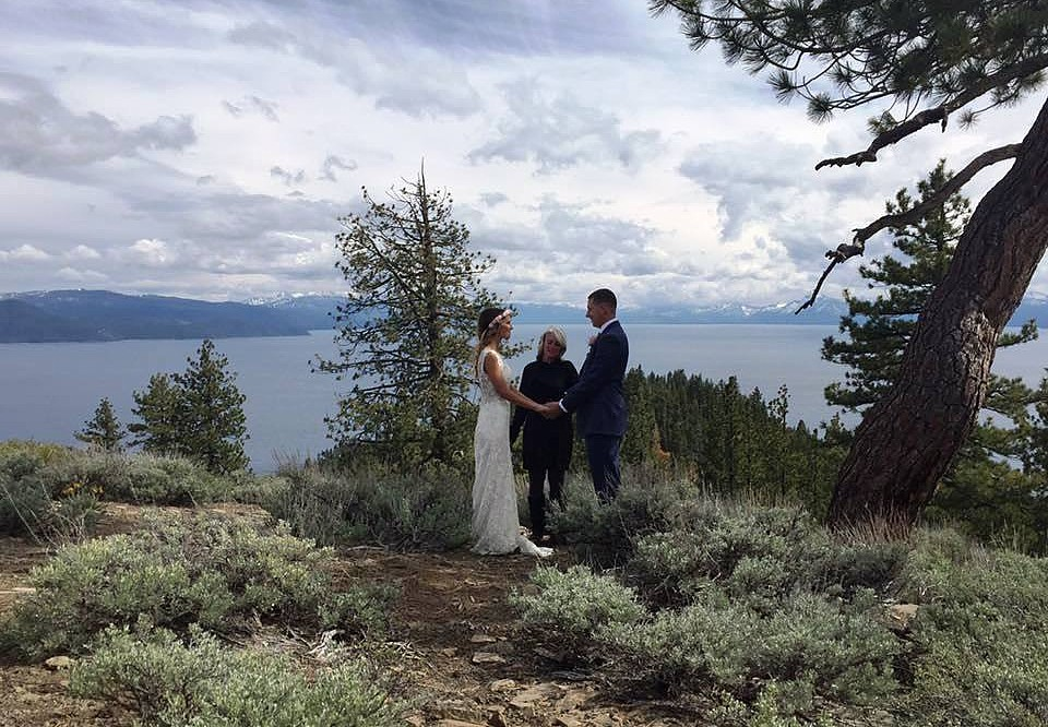 Mountain High Weddings Lake Tahoe ceremony overlooking the lake