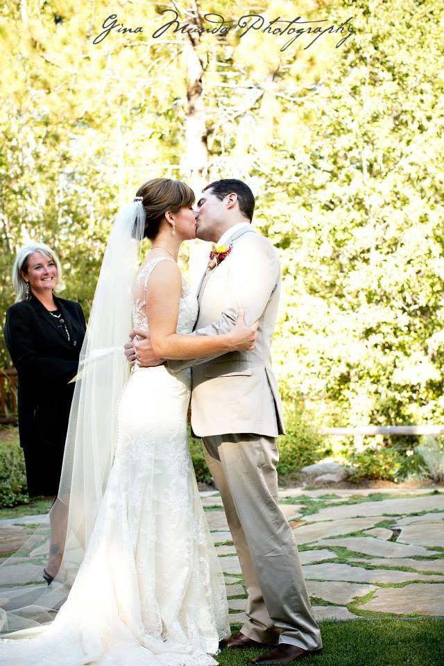 Mountain High Weddings Lake Tahoe couple kissing