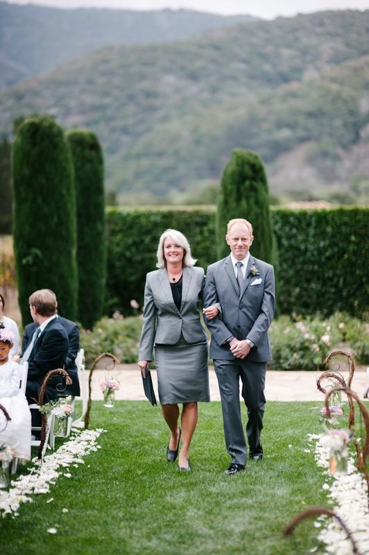 Mountain High Weddings Lake Tahoe Rev. Christa escorting
