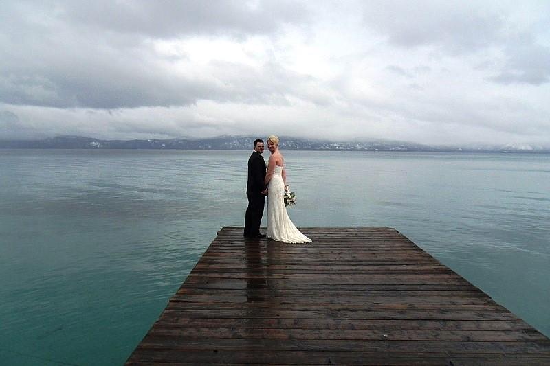 Mountain High Weddings Lake Tahoe couple on pier