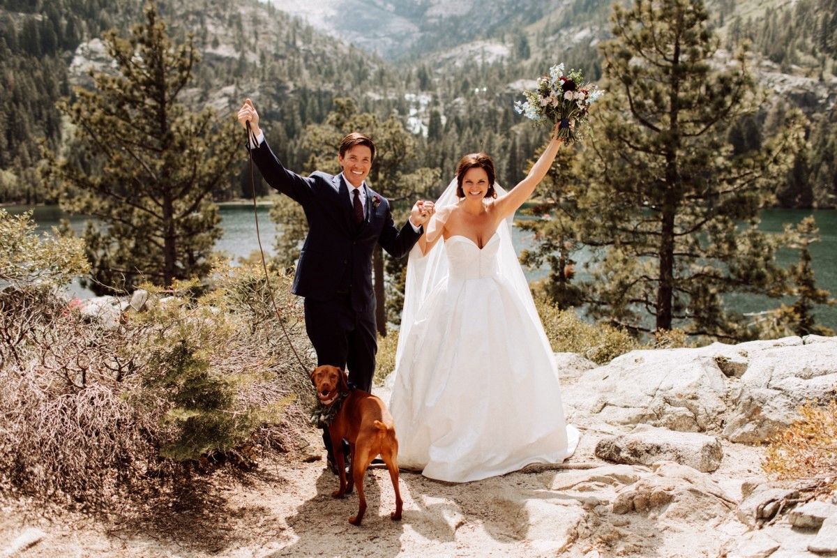 Mountain High Weddings Lake Tahoe couple with dog