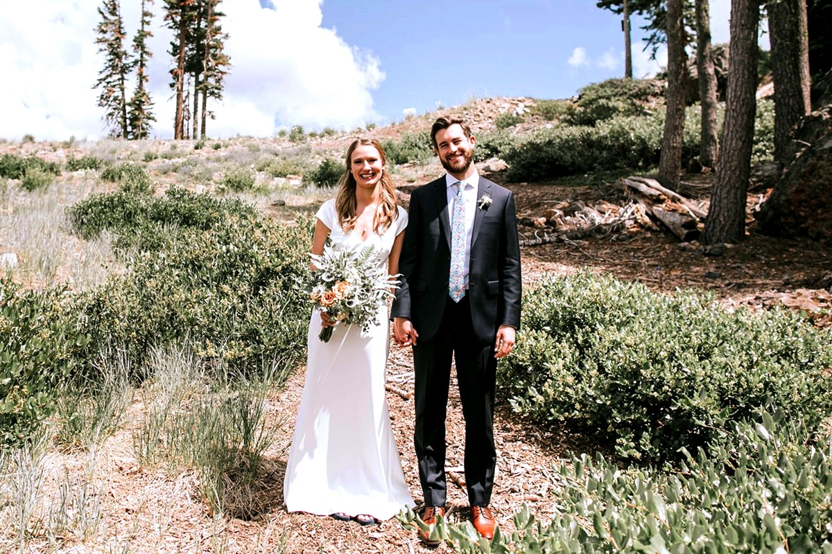 Nancy Rice Artistry - Lake Tahoe wedding hair & makeup - couple in mountains