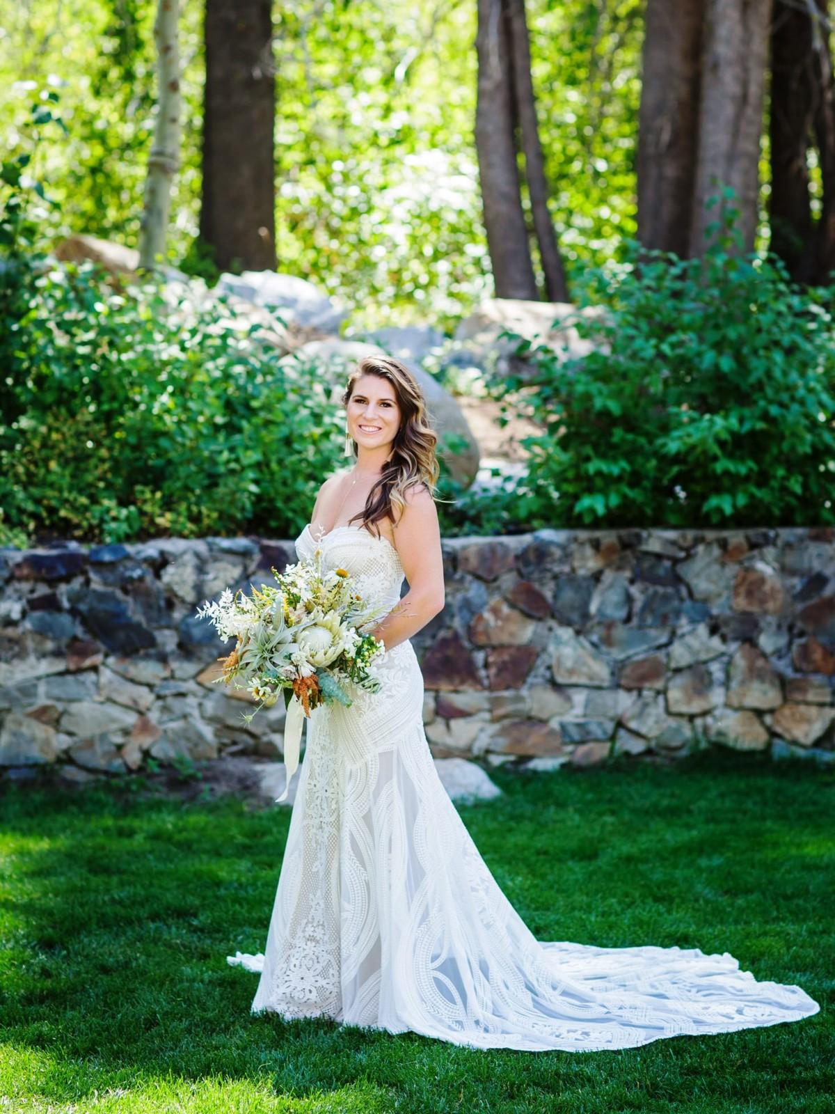 Nancy Rice Artistry - Lake Tahoe wedding hair & makeup - bride ready for ceremony