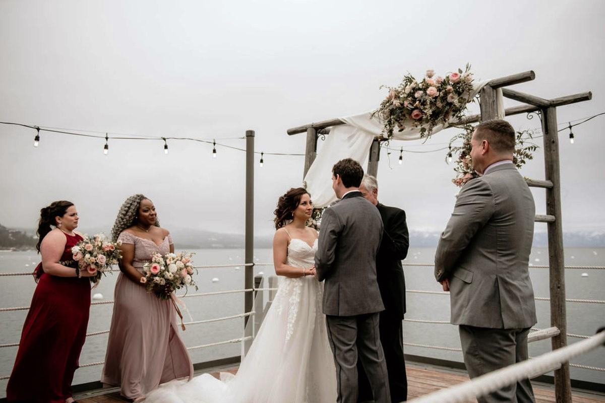 Nancy Rice Artistry - Lake Tahoe wedding hair & makeup - ceremony on pier