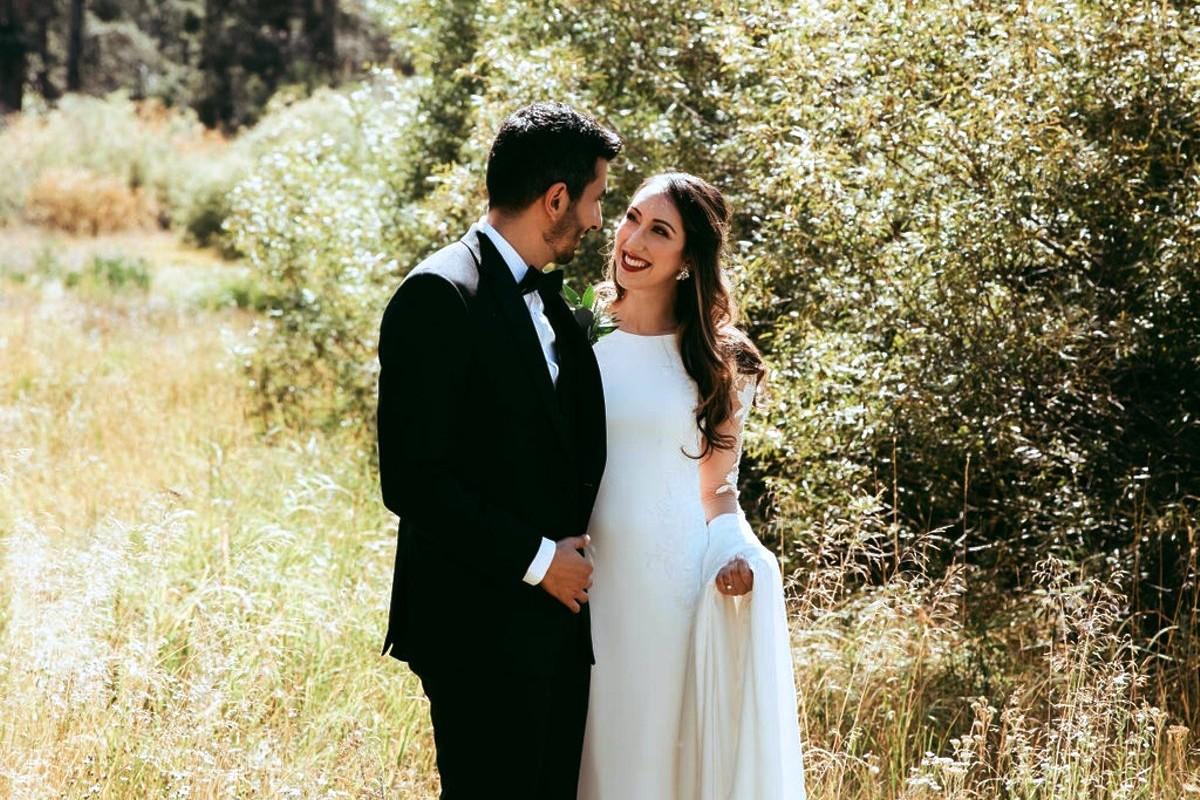 Nancy Rice Artistry - Lake Tahoe wedding hair & makeup - couple in field