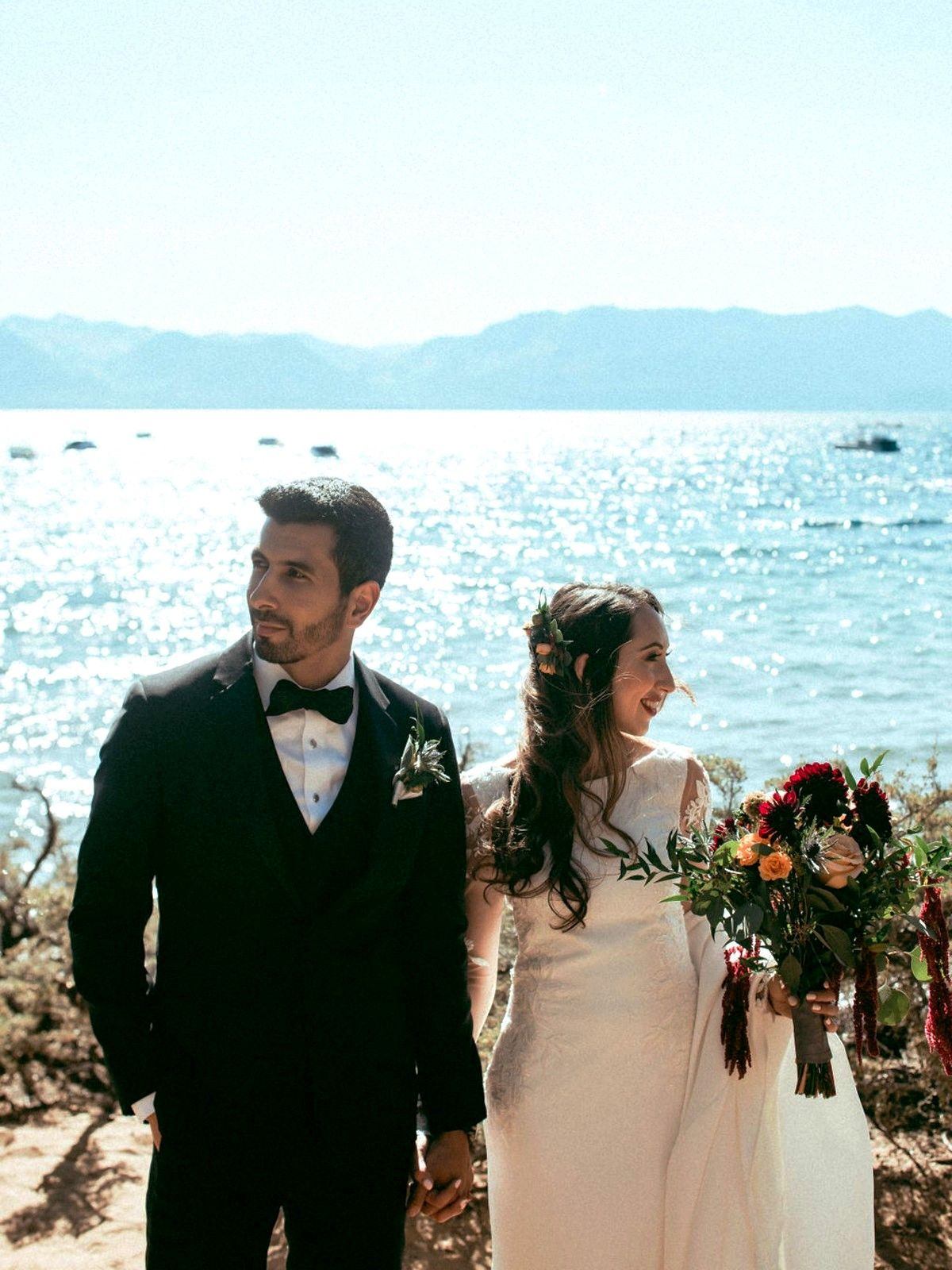 Nancy Rice Artistry - Lake Tahoe wedding hair & makeup - couple by Lake
