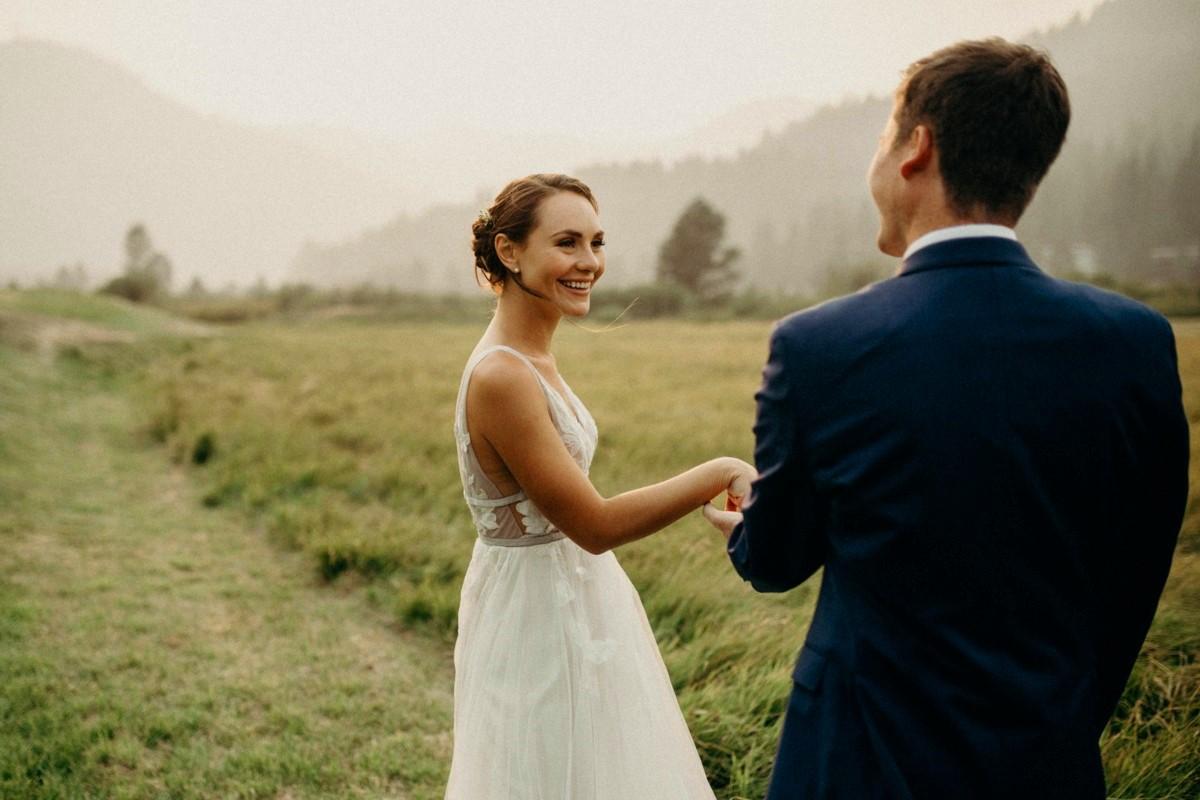 Nancy Rice Artistry - Lake Tahoe wedding hair & makeup - couple in valley