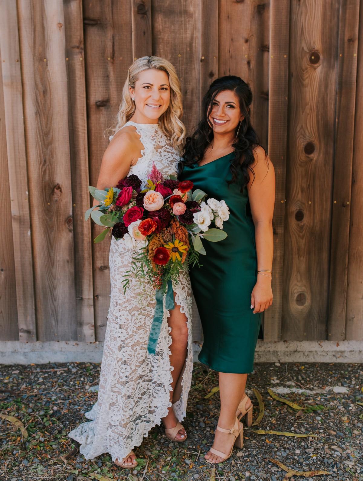 Nancy Rice Artistry - Lake Tahoe wedding hair & makeup - bride with bridesmaid