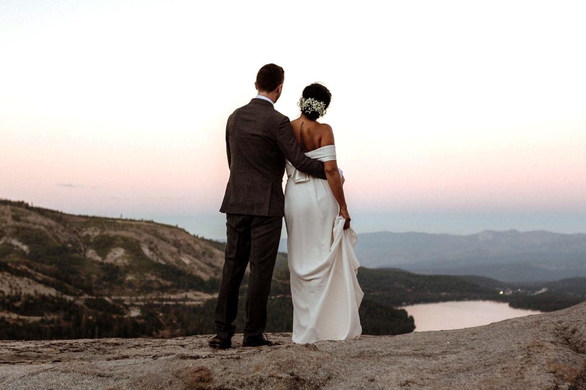 Nancy Rice Artistry - Lake Tahoe wedding hair & makeup - couple at sunset