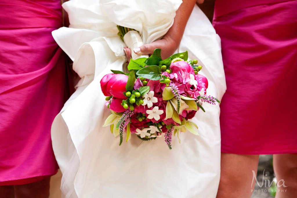 bride bouquet hot pink white green Lake Tahoe wedding