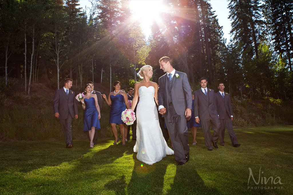 Wedding party by evergreen forest Lake Tahoe wedding