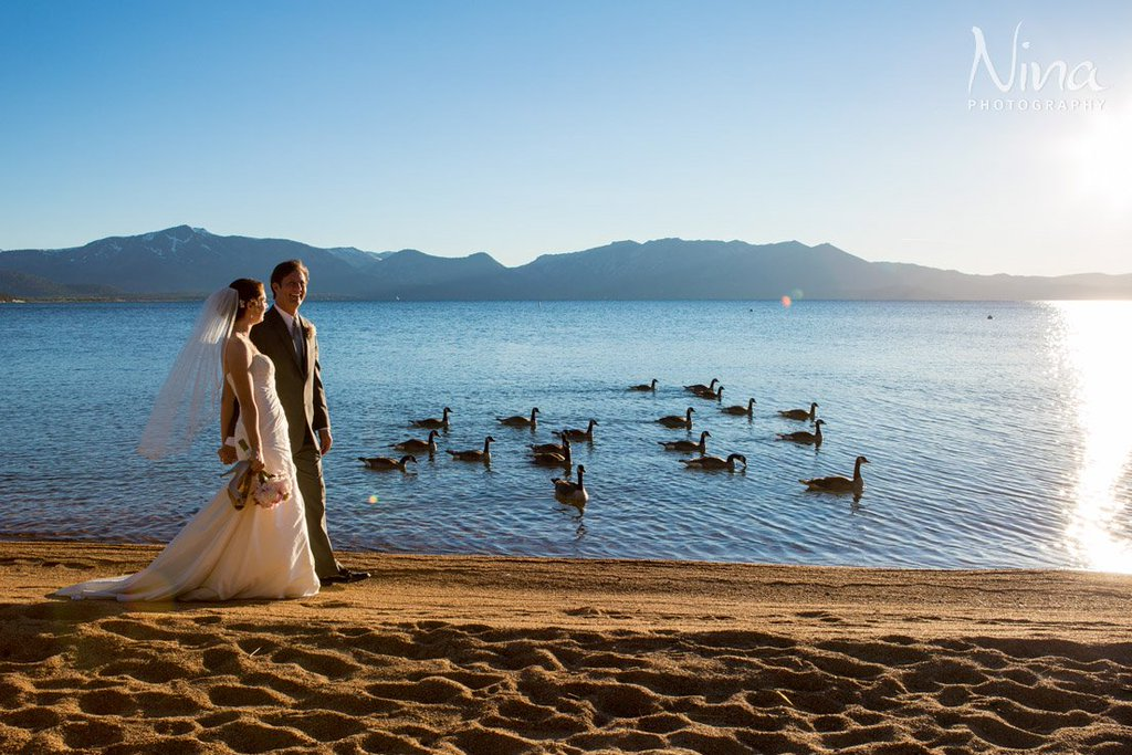 Couple at Lake Tahoe beach weddingt