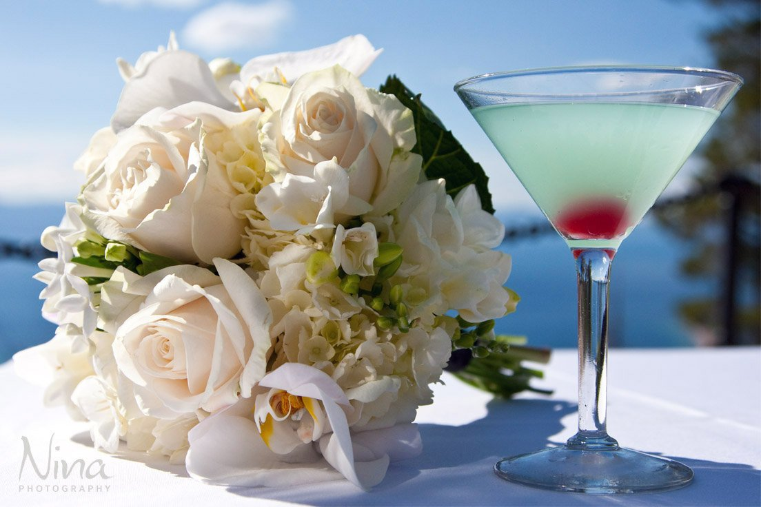 bridal bouquet and beverage Lake Tahoe wedding