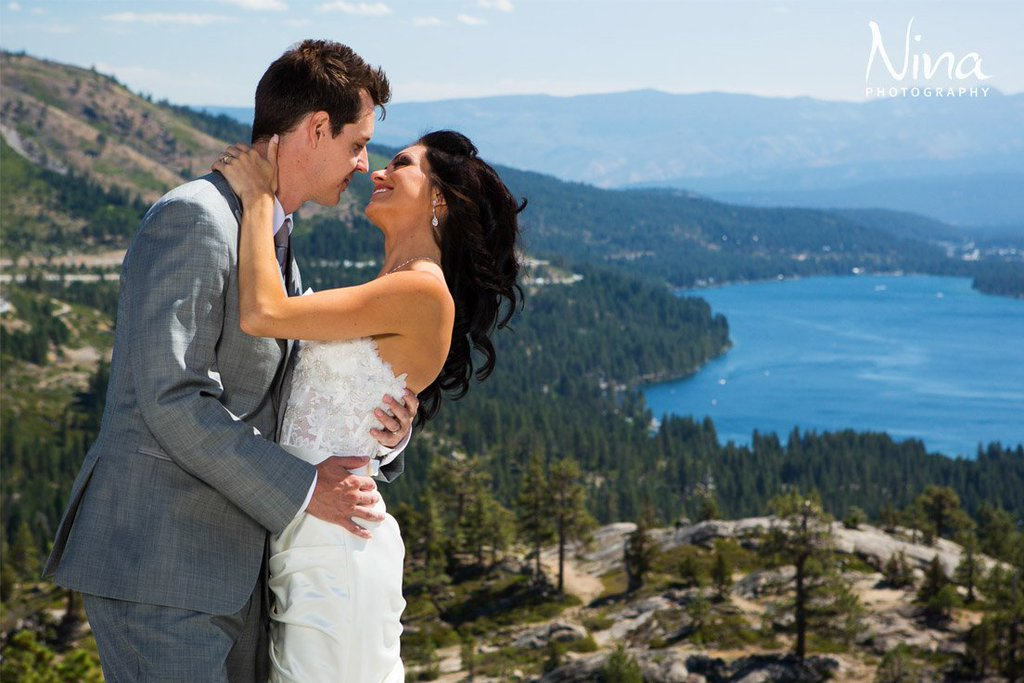 Couple above Donner Lake wedding Tahoe