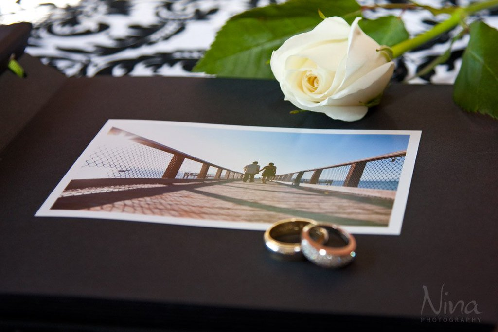 Guest Book with wedding rings Lake Tahoe