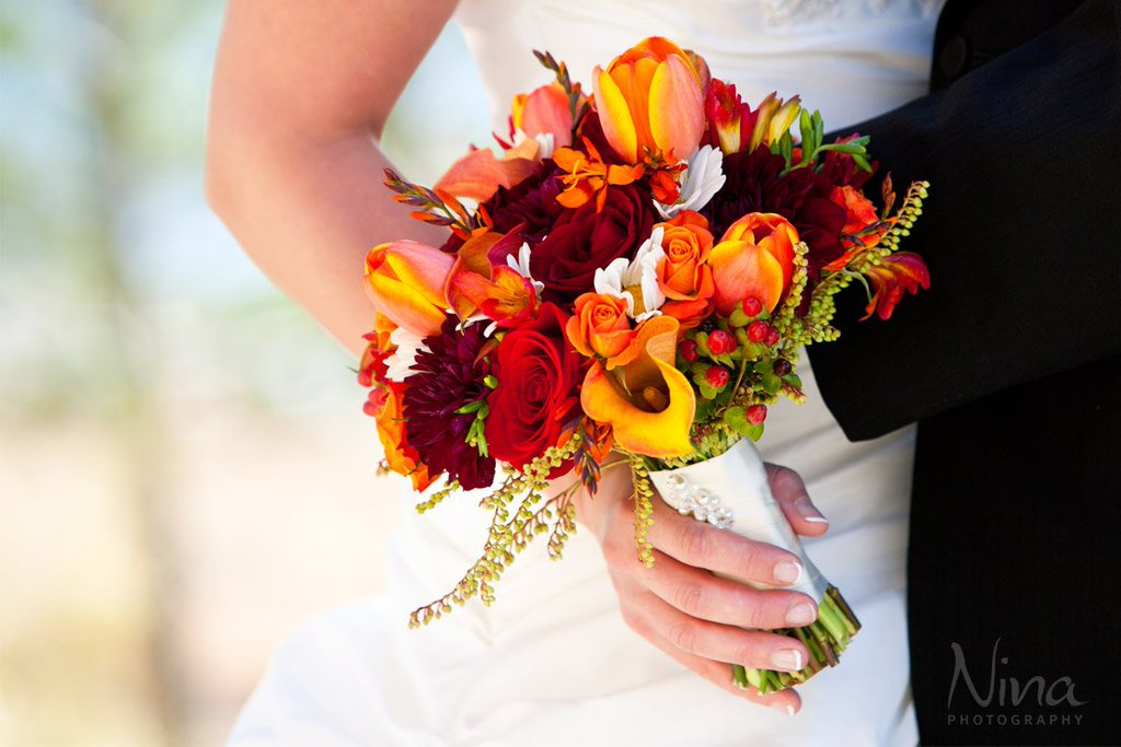 Bride bouquet fall colors Lake Tahoe wedding