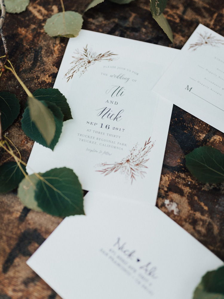 Truckee River Lake Tahoe wedding invitation