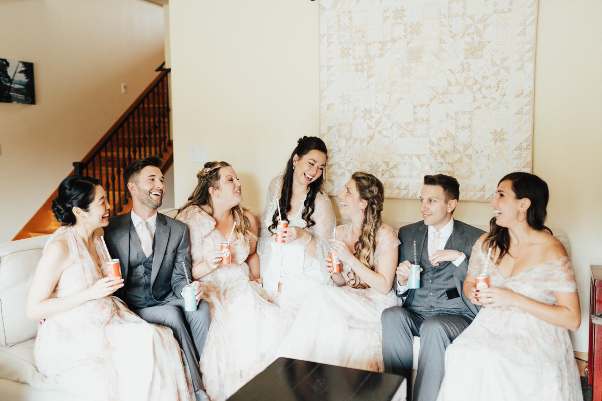 Truckee River Lake Tahoe wedding bridal party