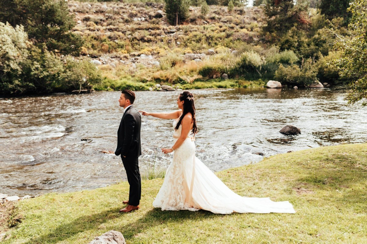 Truckee River Lake Tahoe wedding first look
