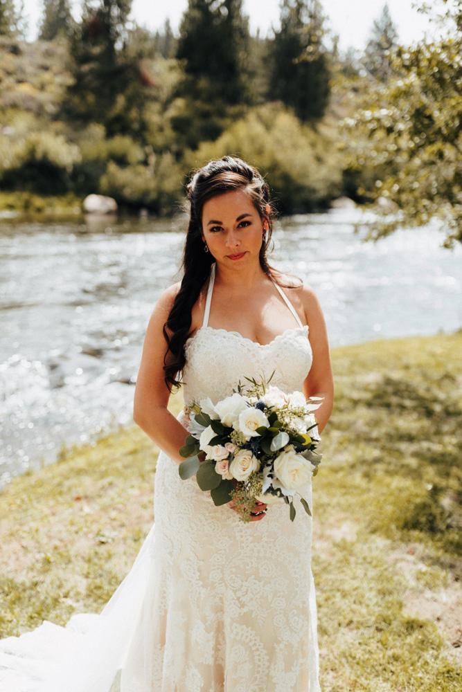 Truckee River Lake Tahoe wedding bride