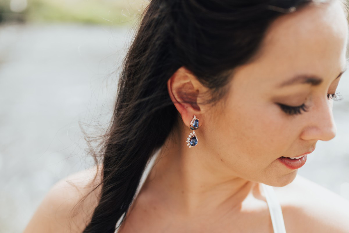 Truckee River Lake Tahoe wedding custom earrings for bride
