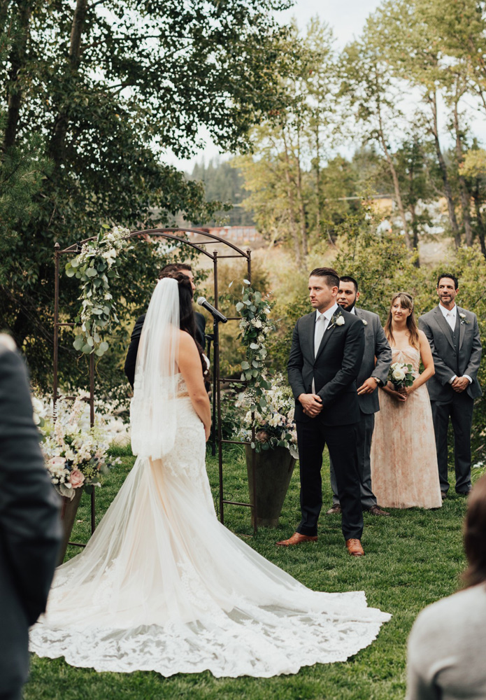 Truckee River Lake Tahoe wedding couple at altar