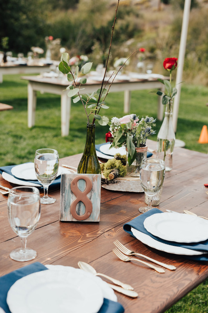 Truckee River Lake Tahoe wedding dinner table decor