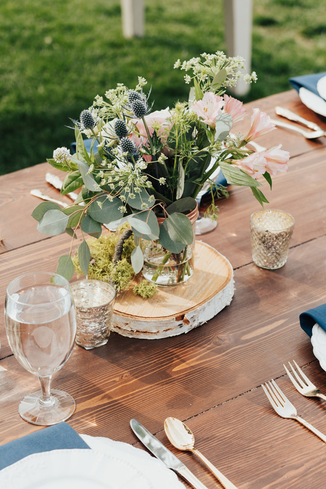Truckee River Lake Tahoe wedding centerpiece