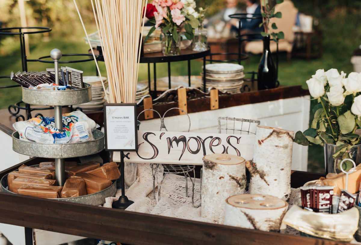 Truckee River Lake Tahoe wedding s'mores station