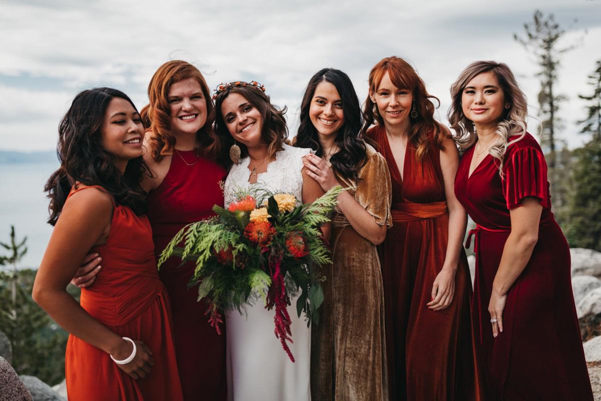 Lake Tahoe Heavenly wedding - bridal party