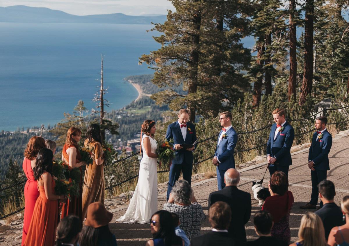 Lake Tahoe Heavenly wedding - ceremony overlooking lake